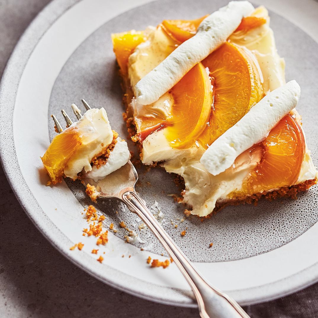 Sheet-Pan Peach Cheesecake