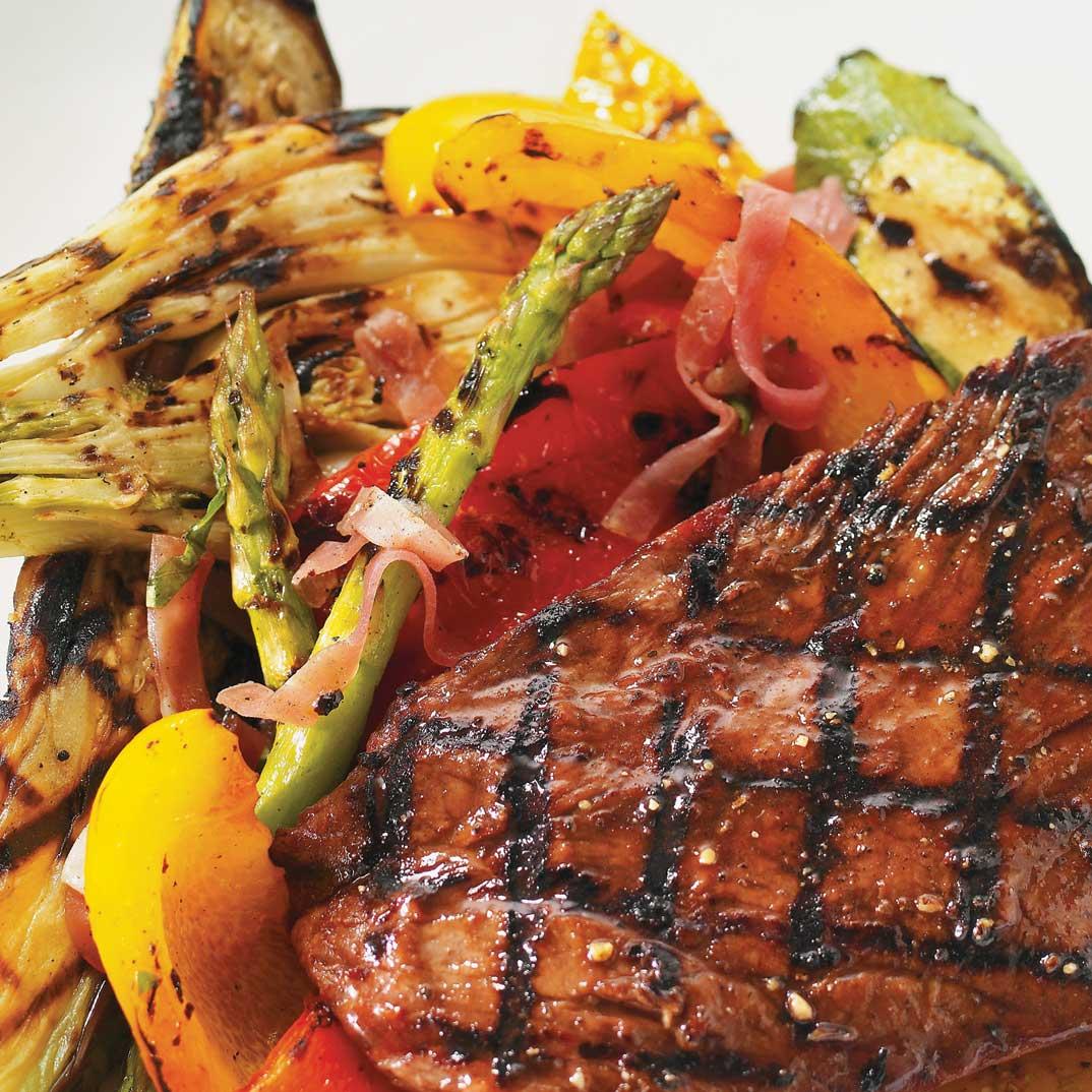 Flank Steak with Grilled Vegetable Salad