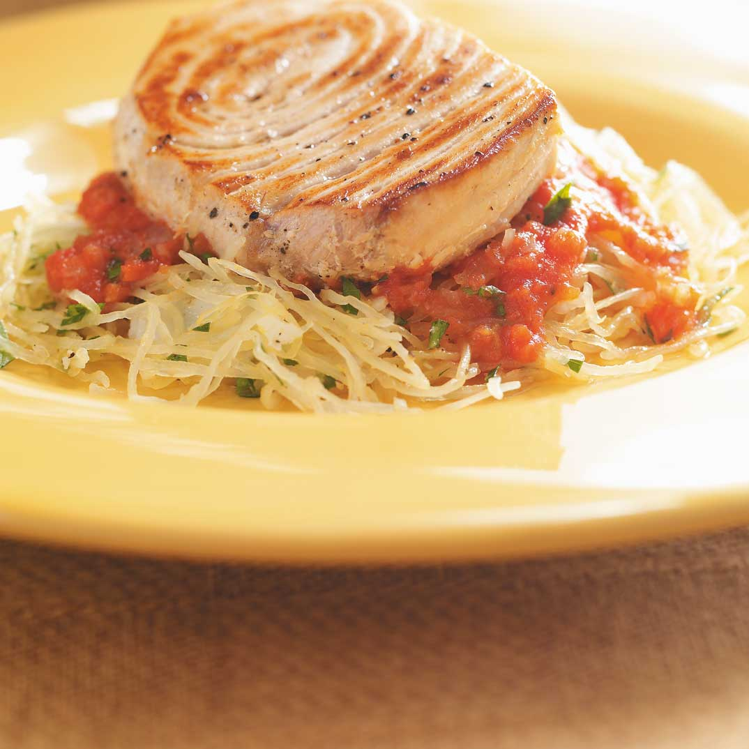 Pan-Seared Swordfish with Tomato Sauce and Spaghetti Squash