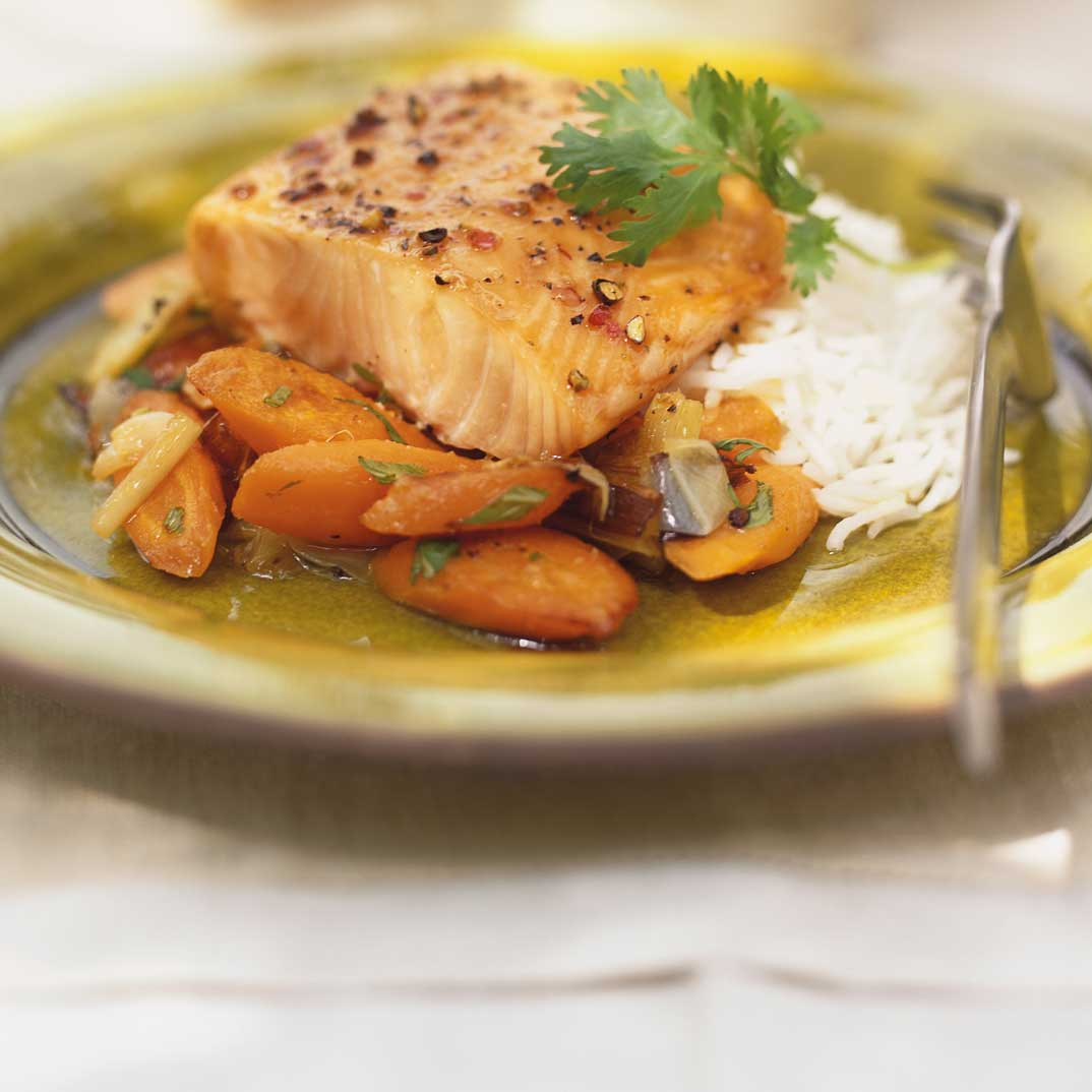 Grilled Salmon with Honey and Cilantro