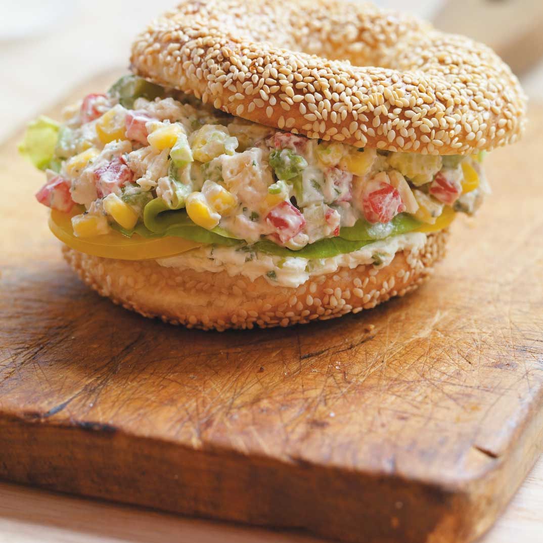 Spicy Chicken Salad Bagels