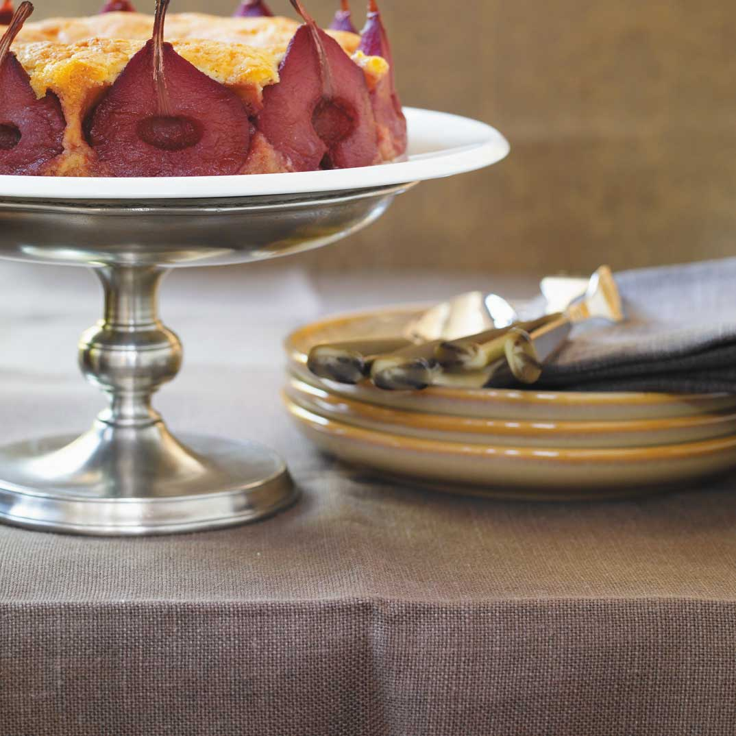 Marzipan Cake with Pears Poached in Red Wine