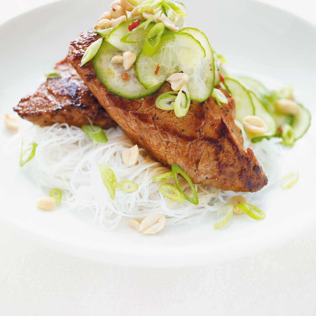 Pork Medallions with Hoisin Sauce and Marinated Cucumber