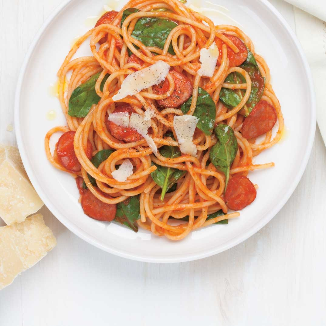 Sausage and Spinach Spaghetti