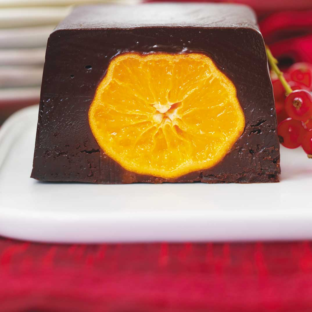 Chocolate Terrine with Candied Clementines