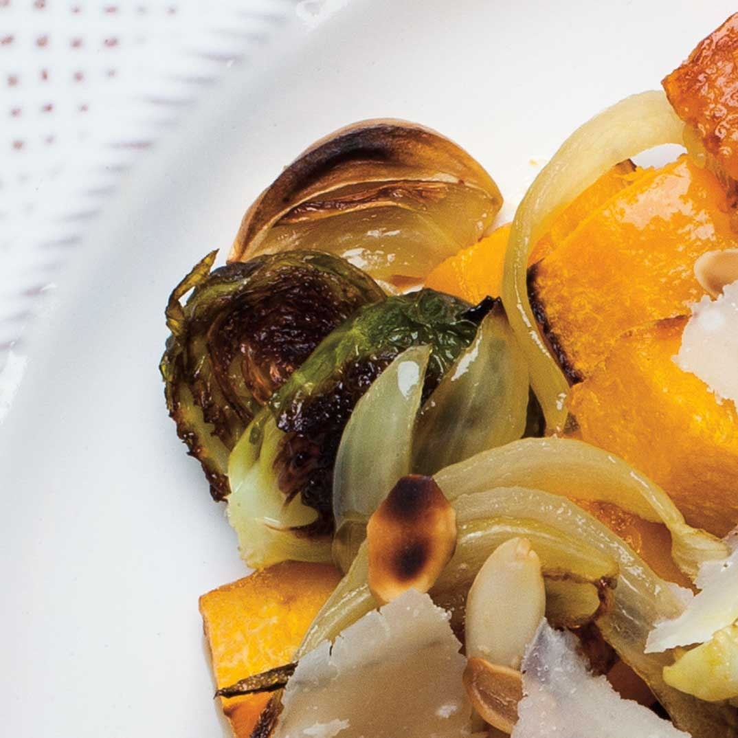 Roasted Squash with Brussels Sprouts with Almonds and Parmesan