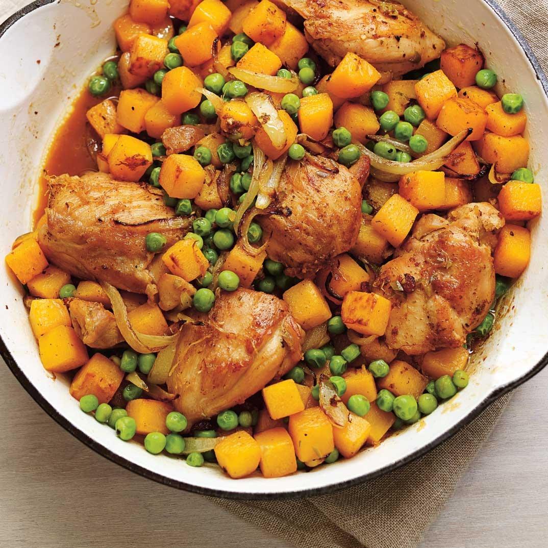 Chicken with Squash and Garlic Flower