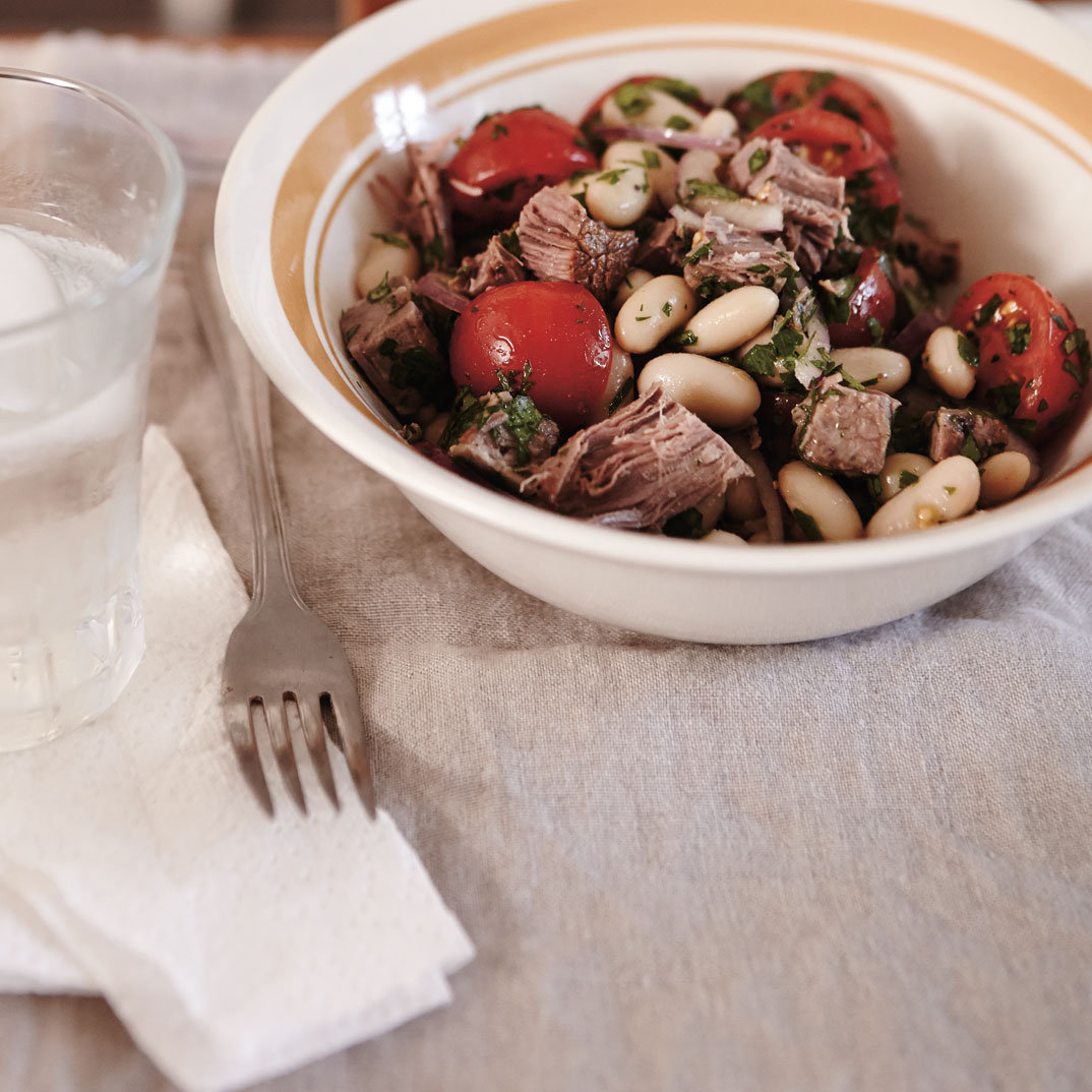White Bean, Tomato and Braised Beef Salad