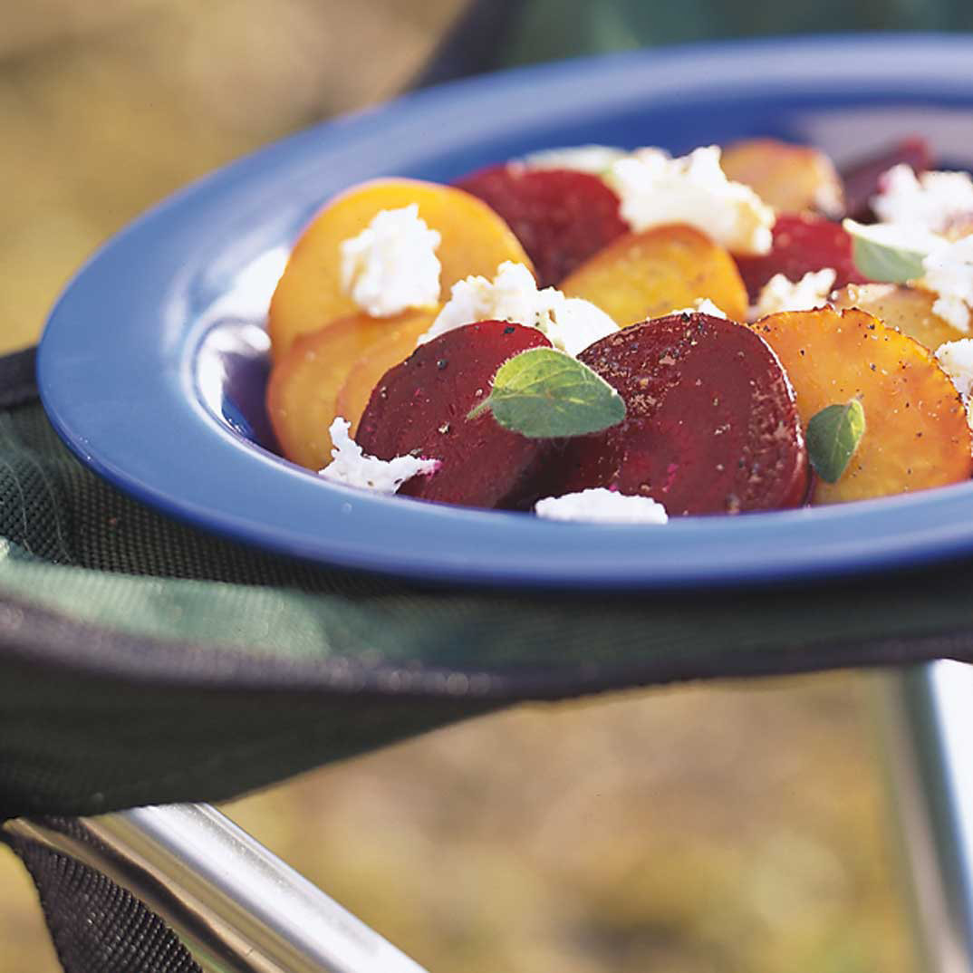 Coal-Roasted Beets with Goat Cheese