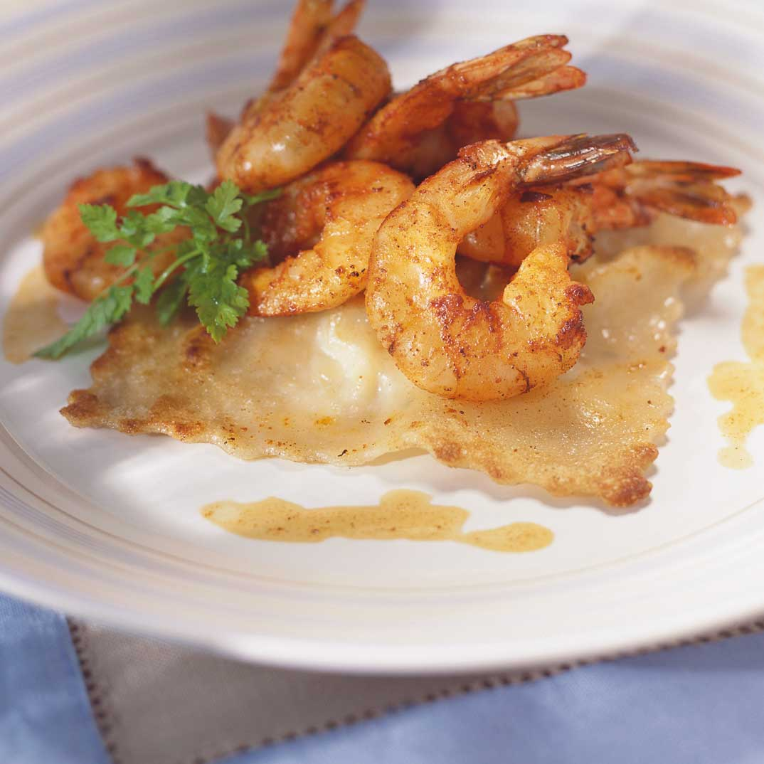 Scallop Ravioli and Paprika Shrimp