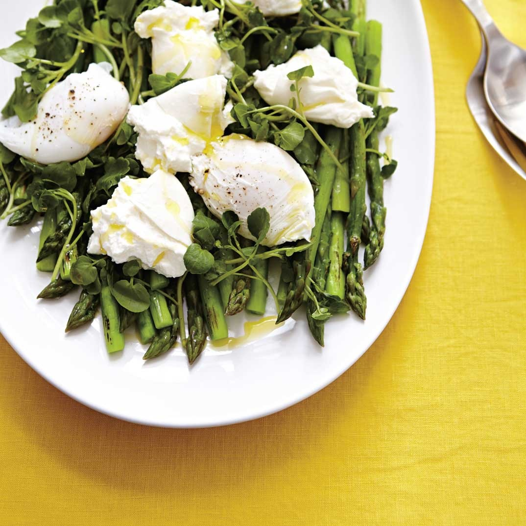 Asparagus and Poached Egg Salad with Burrata