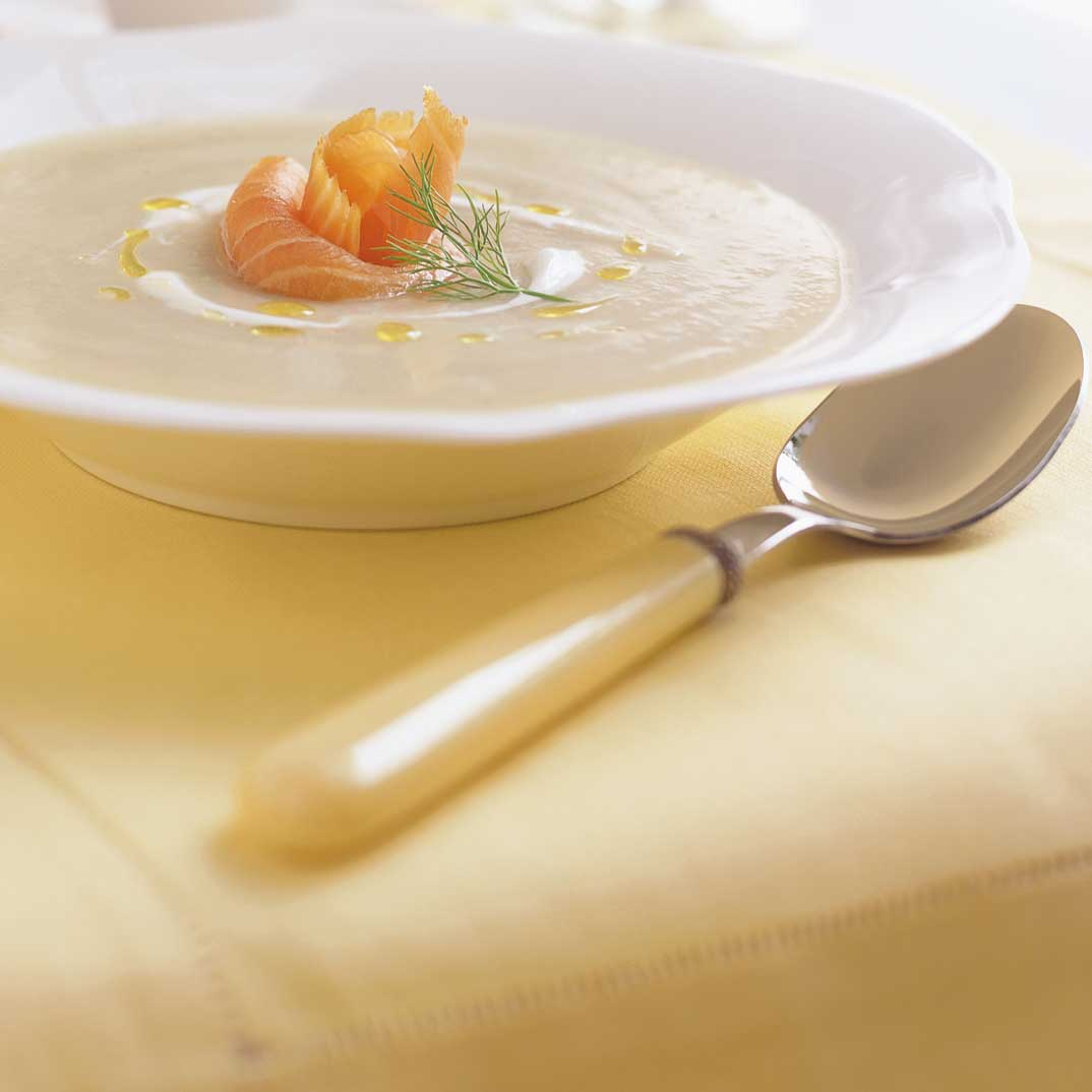 Cream of Fennel Soup with Smoked Salmon