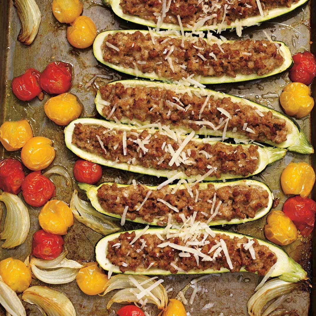 Veal and Parmesan-Stuffed Zucchini