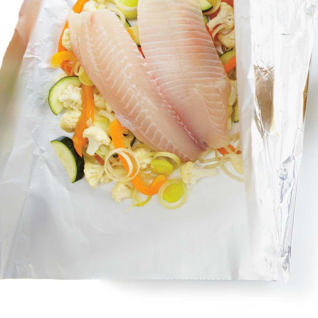 Fish Papillotes with Curry Dressing