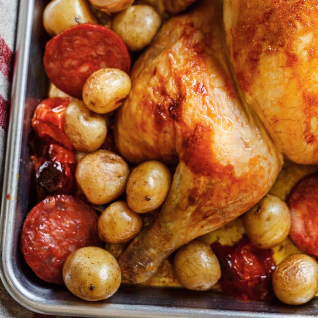 Roasted Chicken with Chorizo and Lemon
