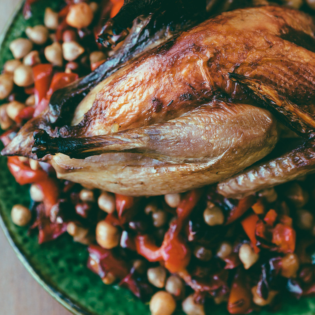 Roasted Guinea Fowl with Caramelized Bell Pepper and Chickpea Salad
