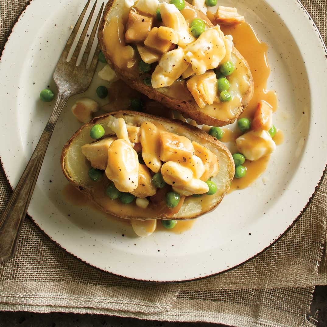 Chicken and Cheese-Stuffed Potato