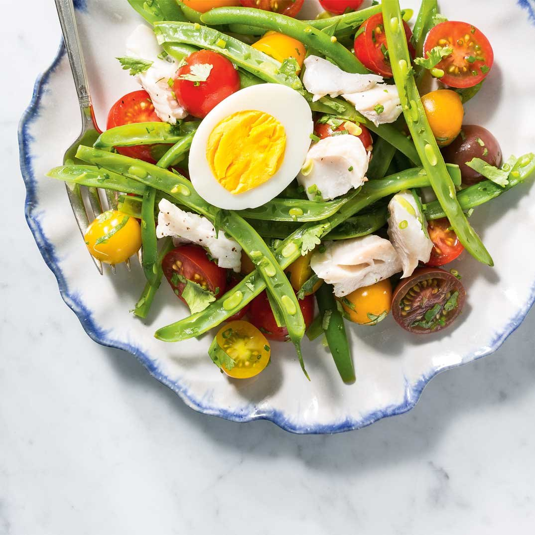 Tomato and Green Bean Salad with Haddock Poached in White Wine