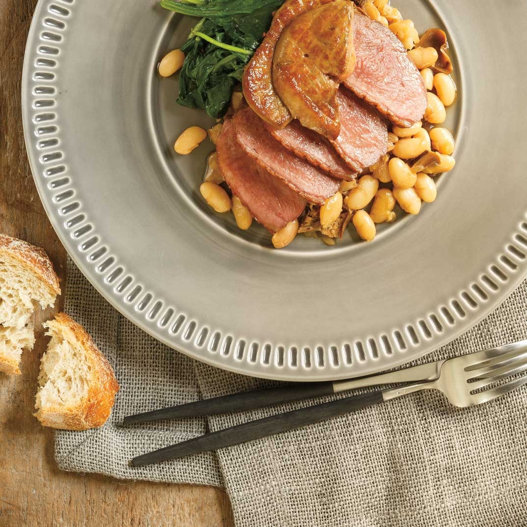 Roasted Duck Breast with White Beans, Boletes and Foie Gras