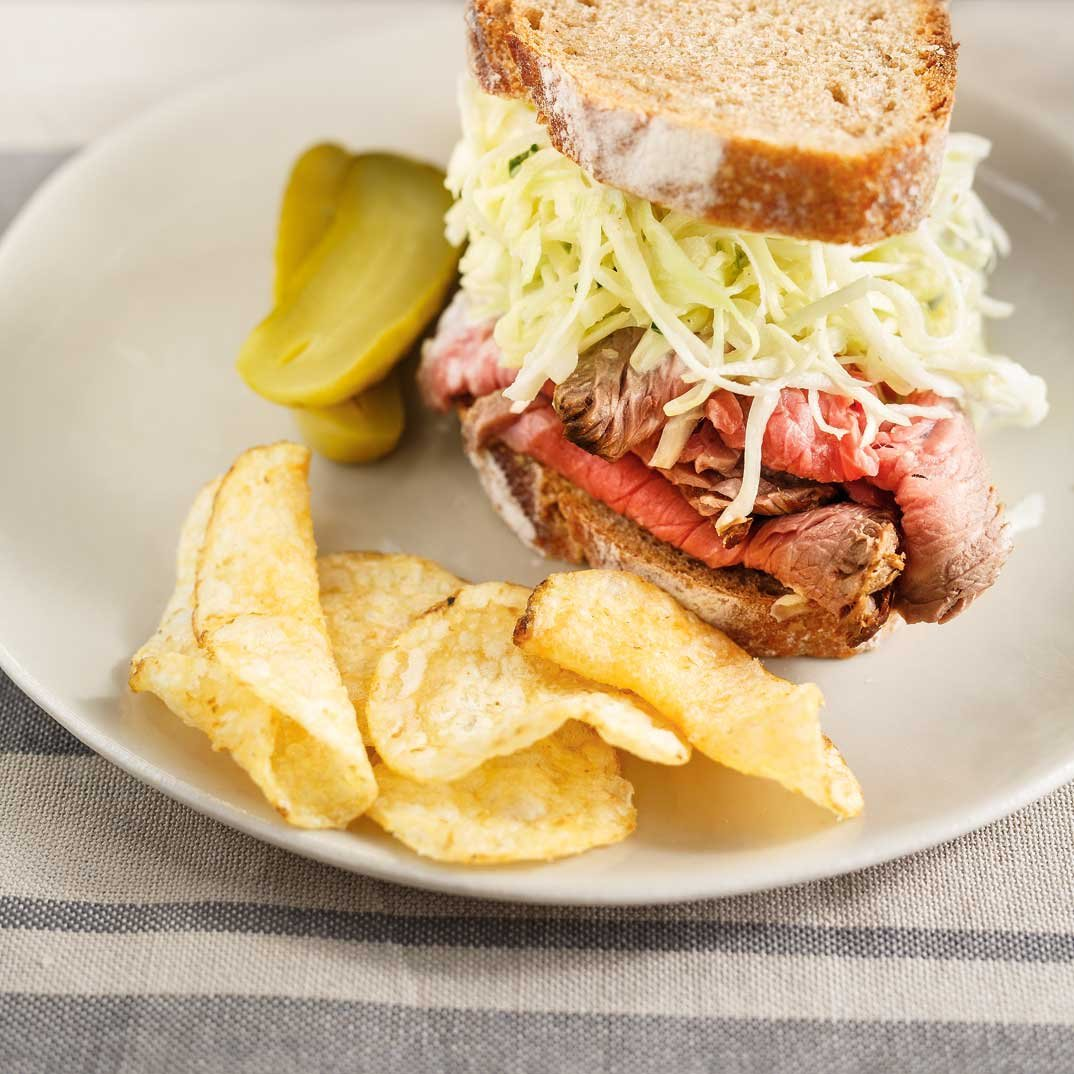 Roast Beef Sandwiches with Coleslaw and Horseradish
