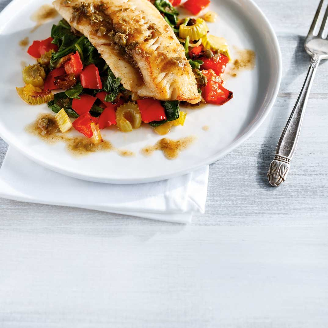 Fish and Roasted Vegetables with Caper and Anchovy Brown Butter