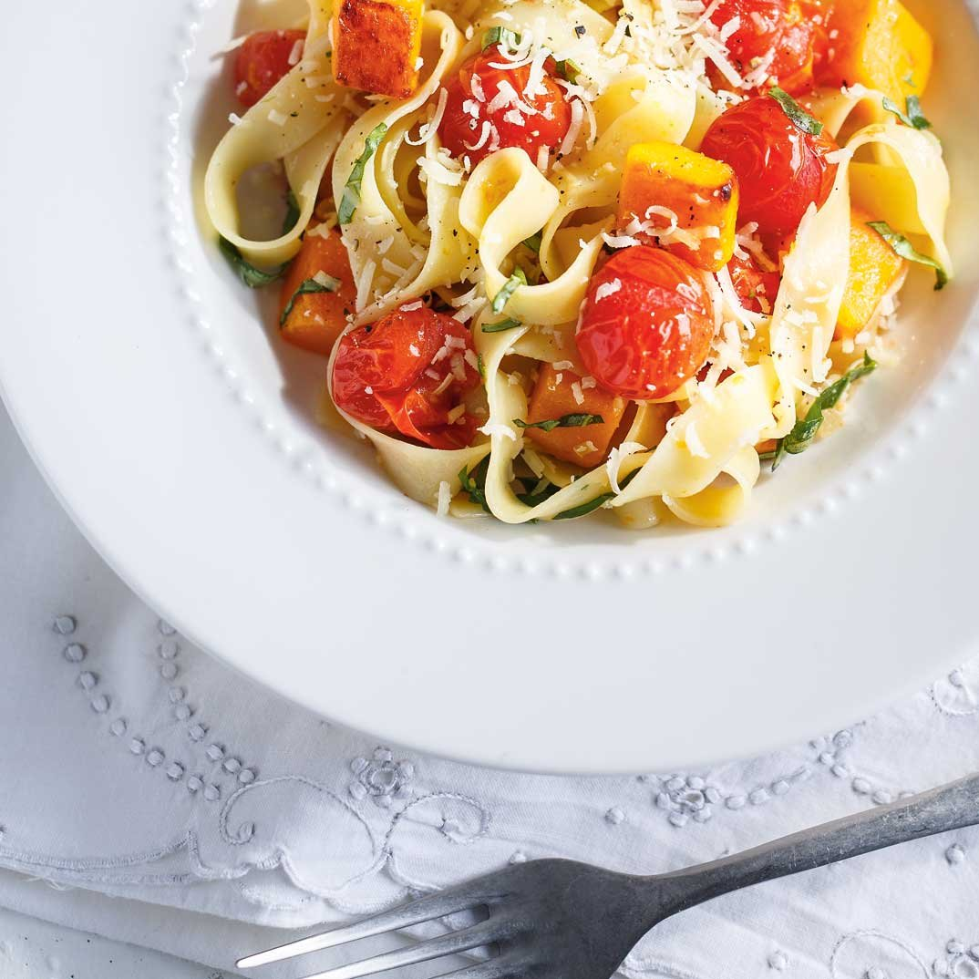 Roasted Tomato and Squash Pappardelle