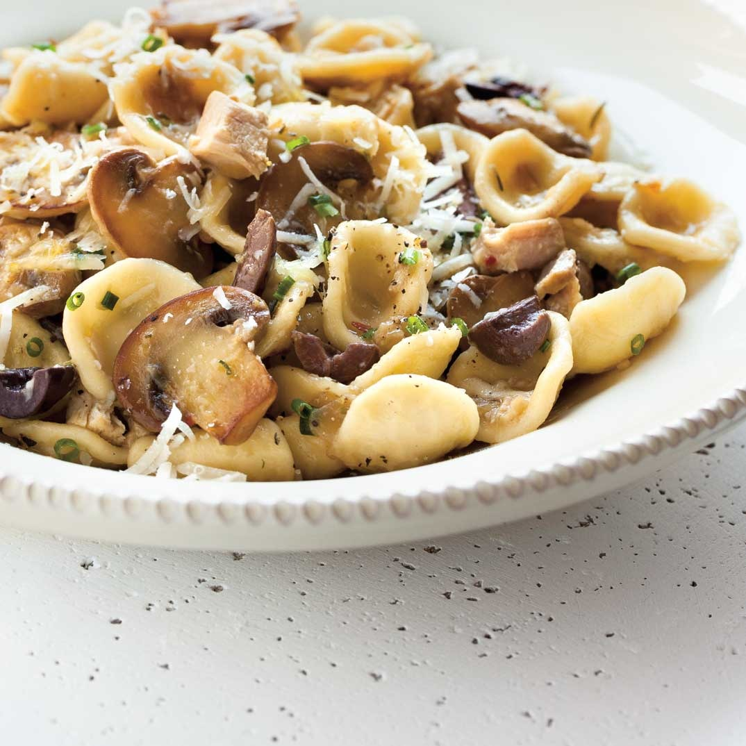 Chicken, Olive, and Mushroom Orecchiette