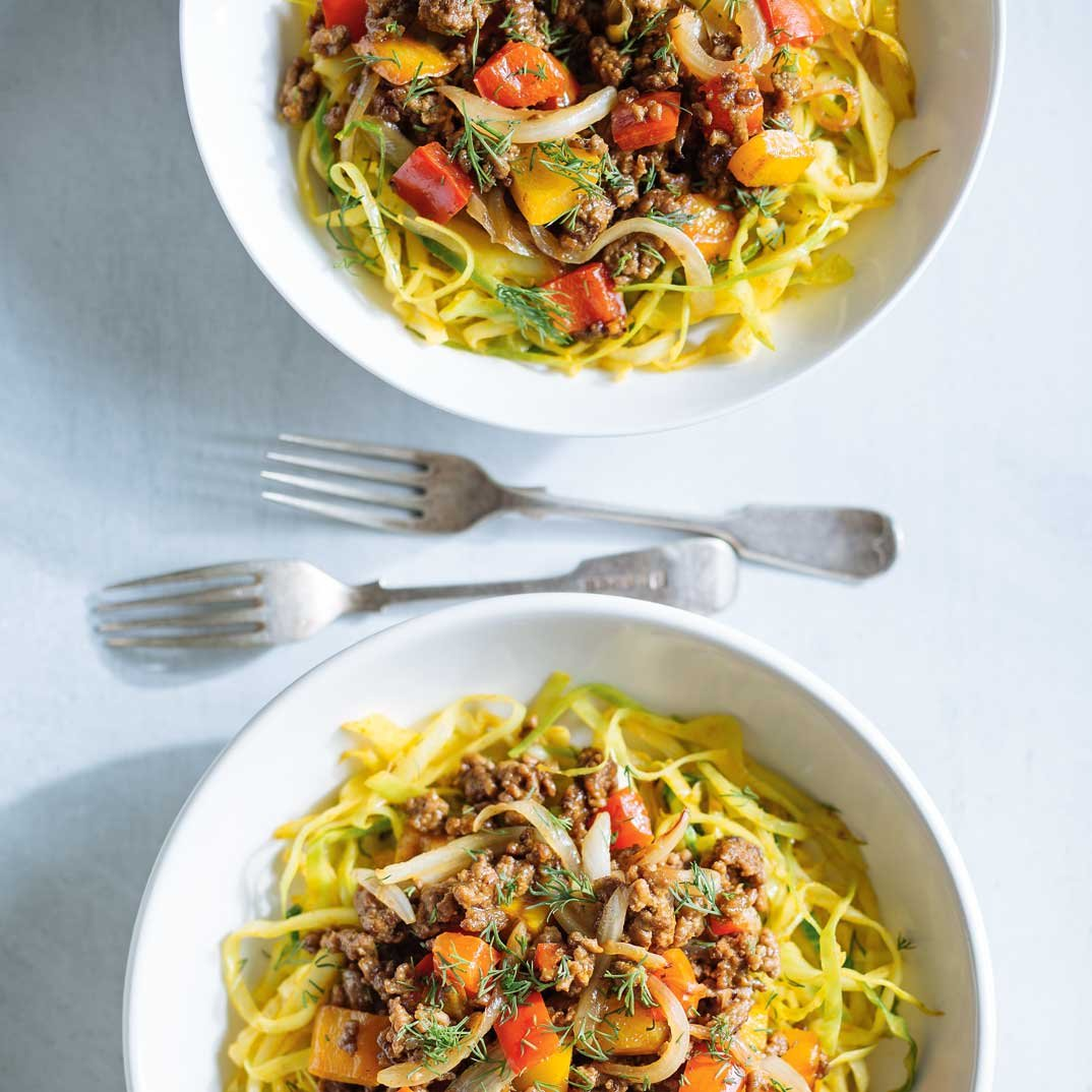 Curried Cabbage Noodles with Sautéed Beef