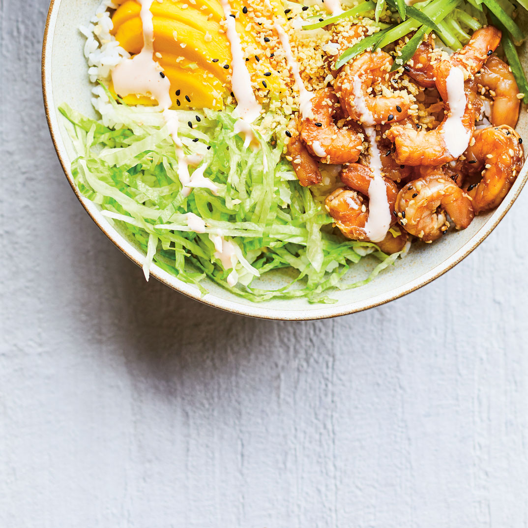 Poke Bowl with Spicy Shrimp