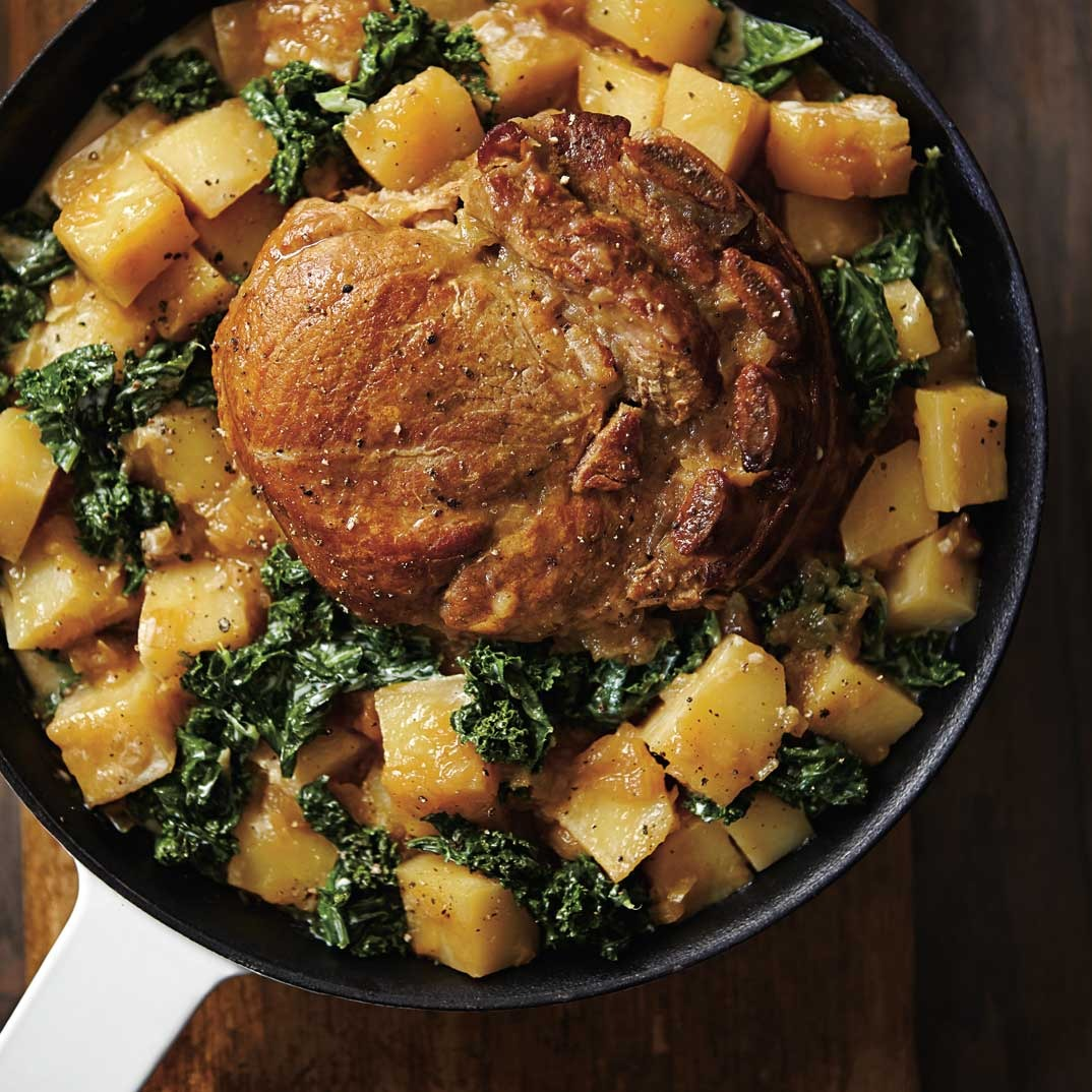 Veal Roast with Onions and Creamed Kale