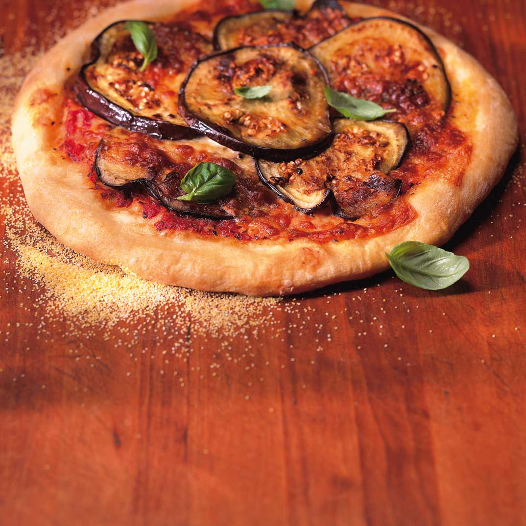 Eggplant, Roasted Garlic and Provolone Pizza