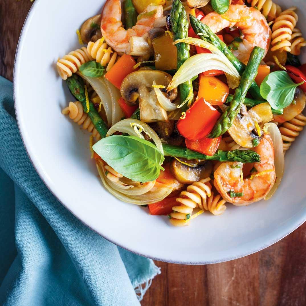 Vegetable and Shrimp Pasta