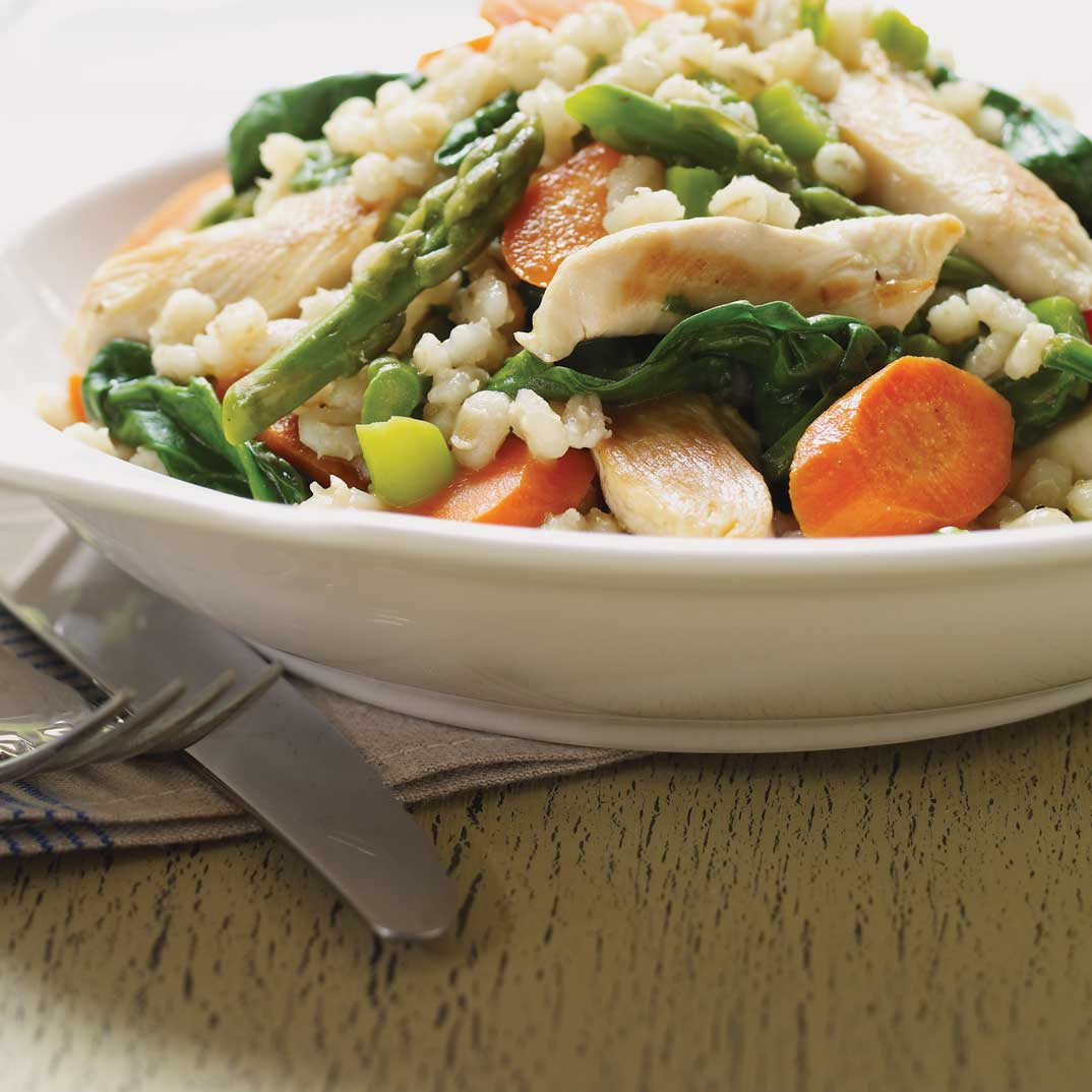 Barley, Chicken and Green Vegetable Ragout