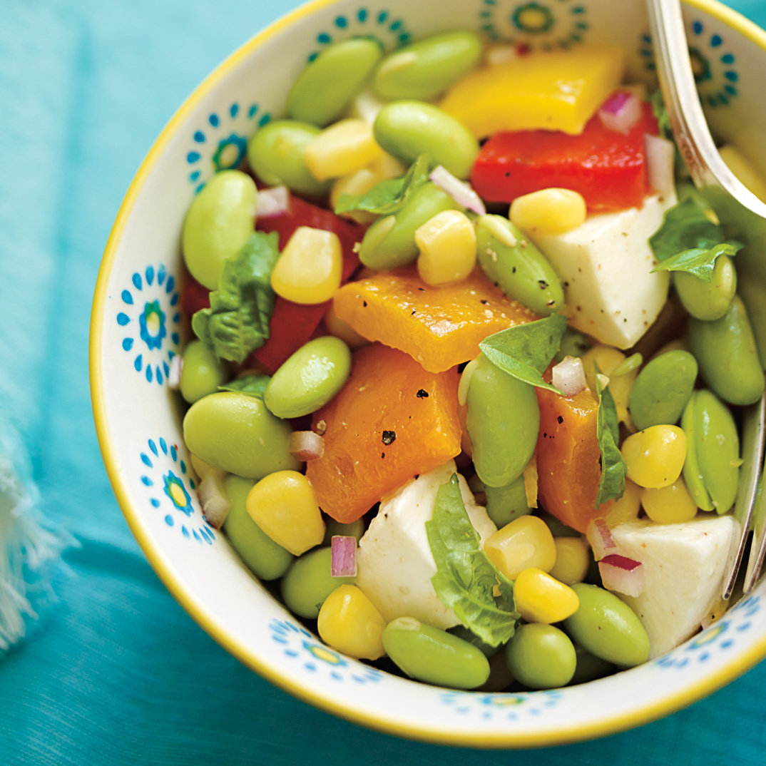 Edamame, Roasted Bell Pepper and Bocconcini Salad