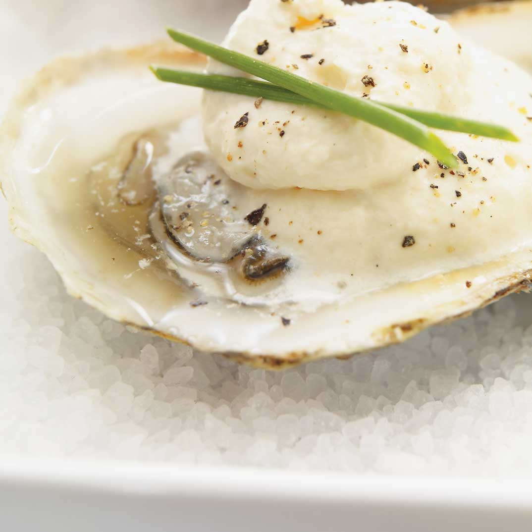 Fresh Oysters with Shallot Foam