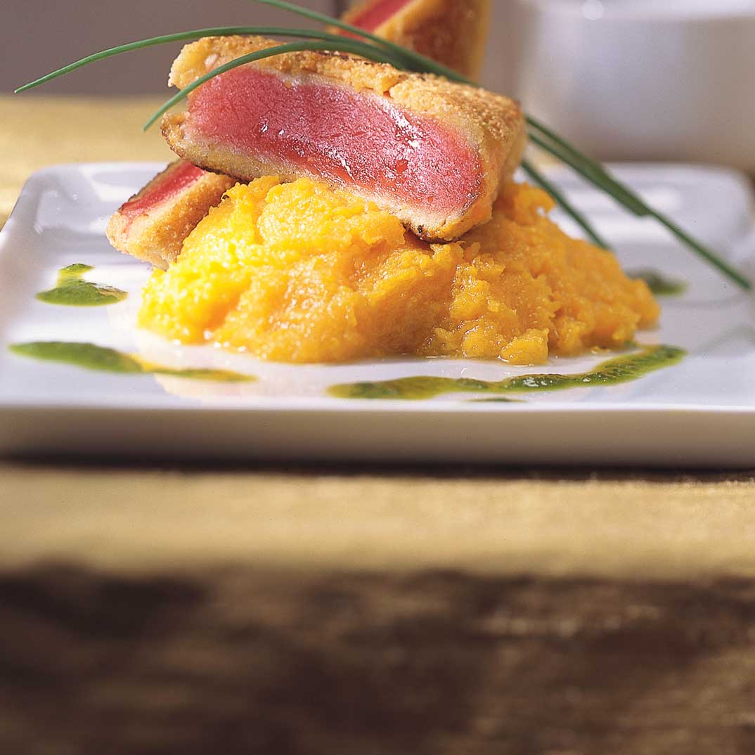 Almond-Crusted Seared Tuna on Ginger Mashed Butternut Squash