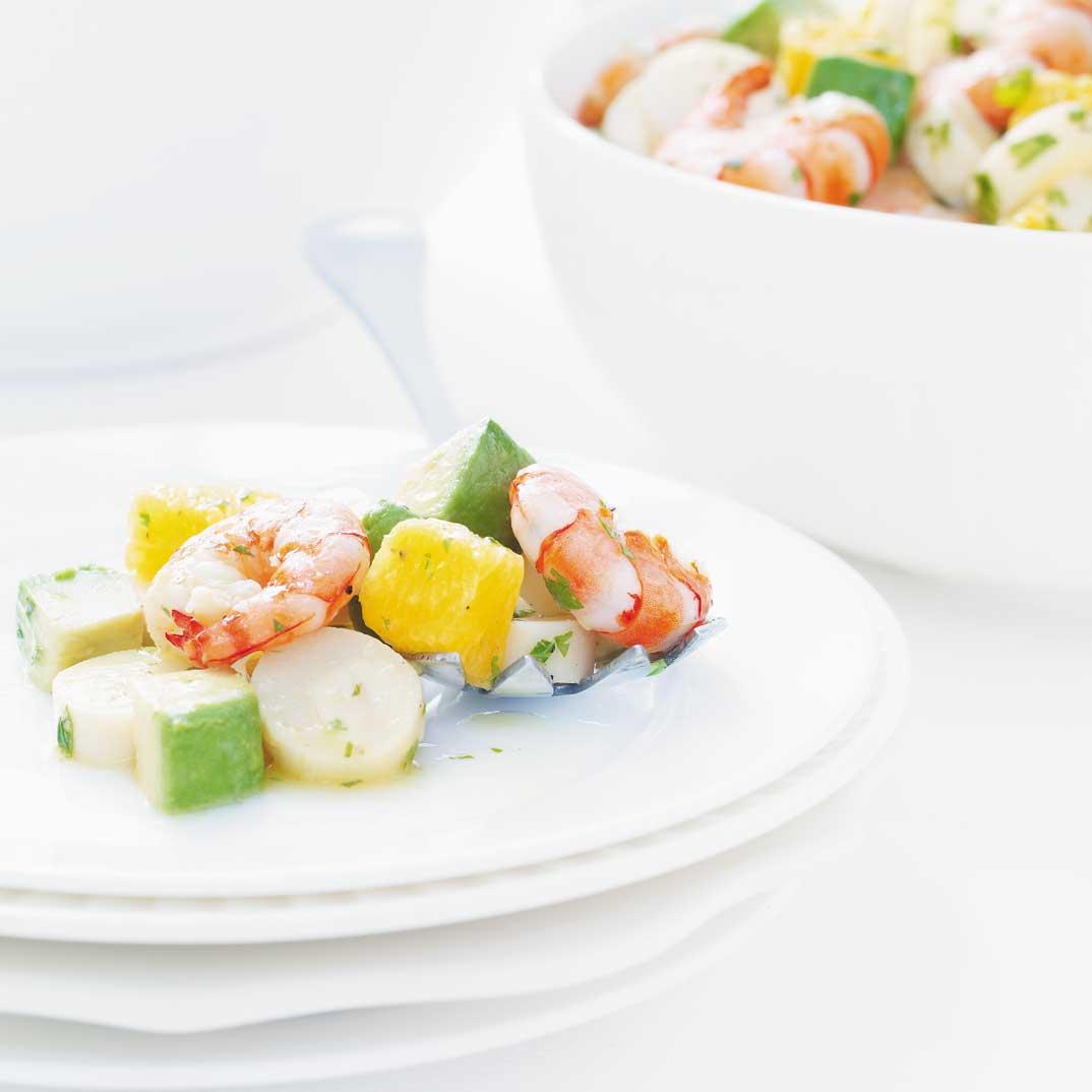 Salade de coeurs de palmier et de crevettes