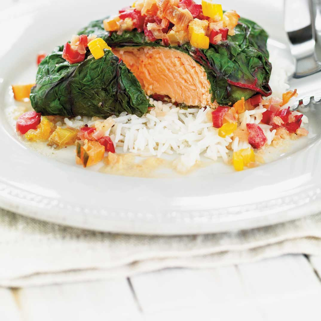 Salmon wrapped in Swiss Chard