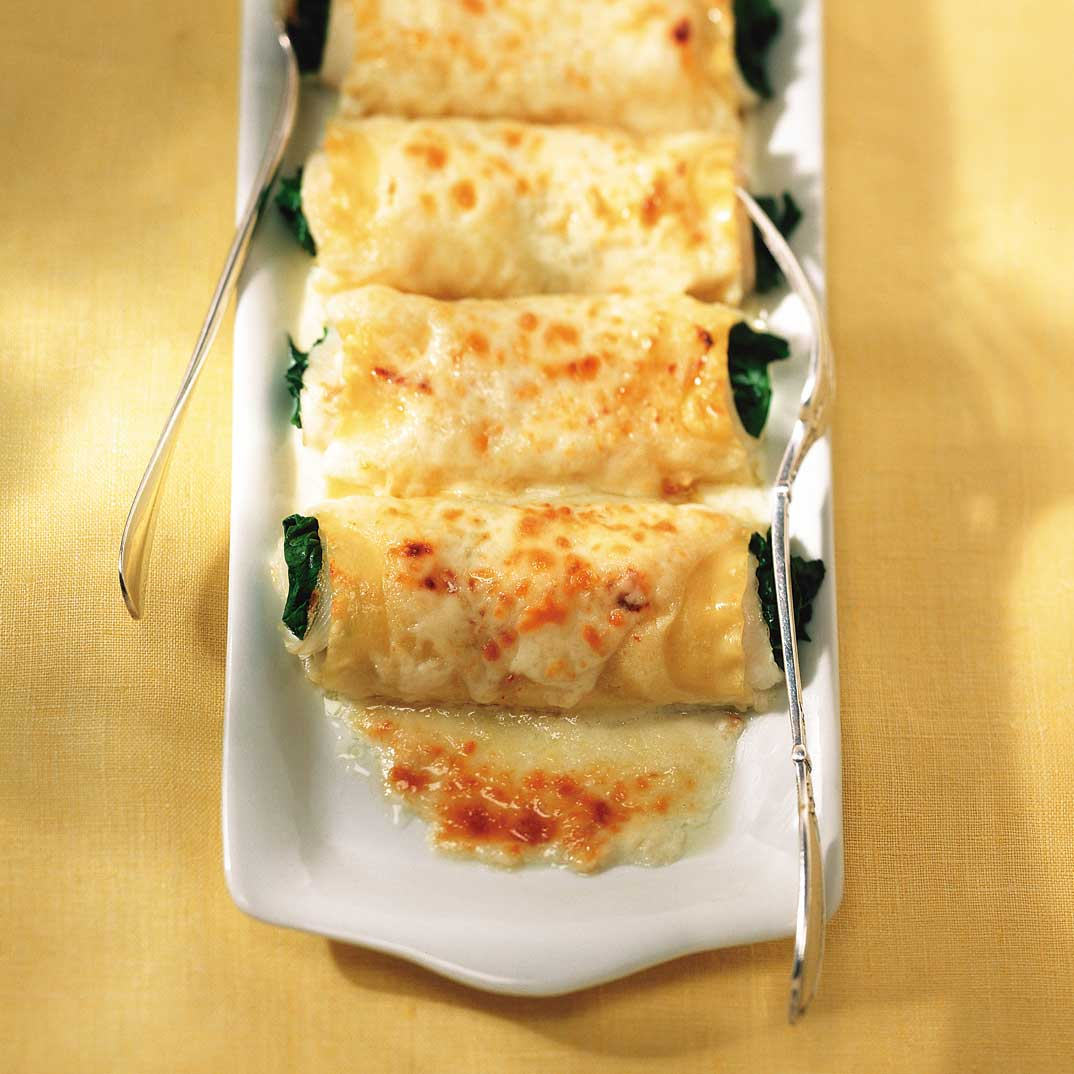 Baked Sole Rolls with Spinach and Parmesan Cheese
