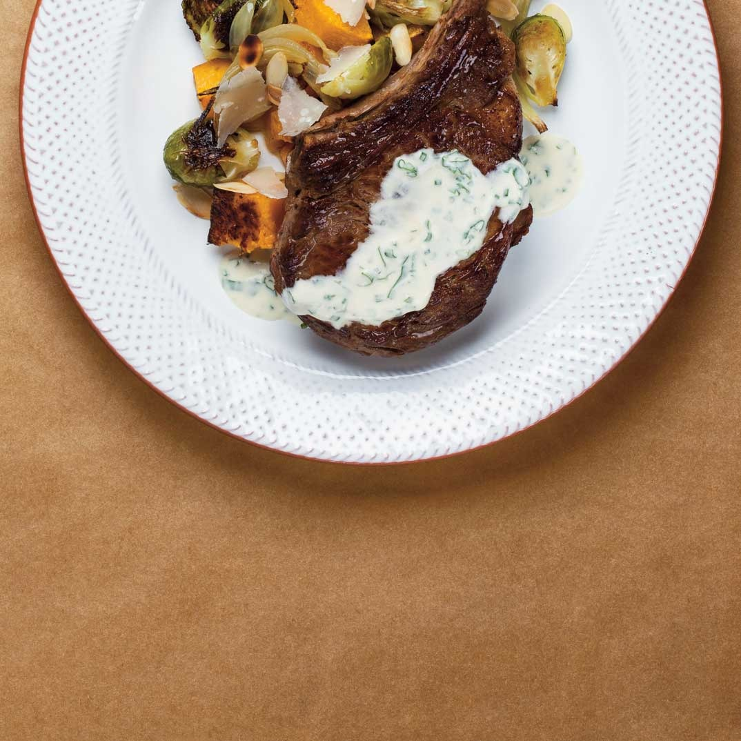 Veal Rib Chop with Parmesan Squash and Garlic Cream
