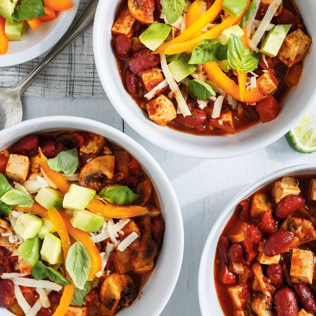 Tofu Chili with Avocado Salad