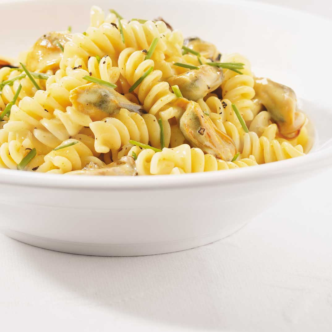 Fusilli with Mussel and Curry Sauce
