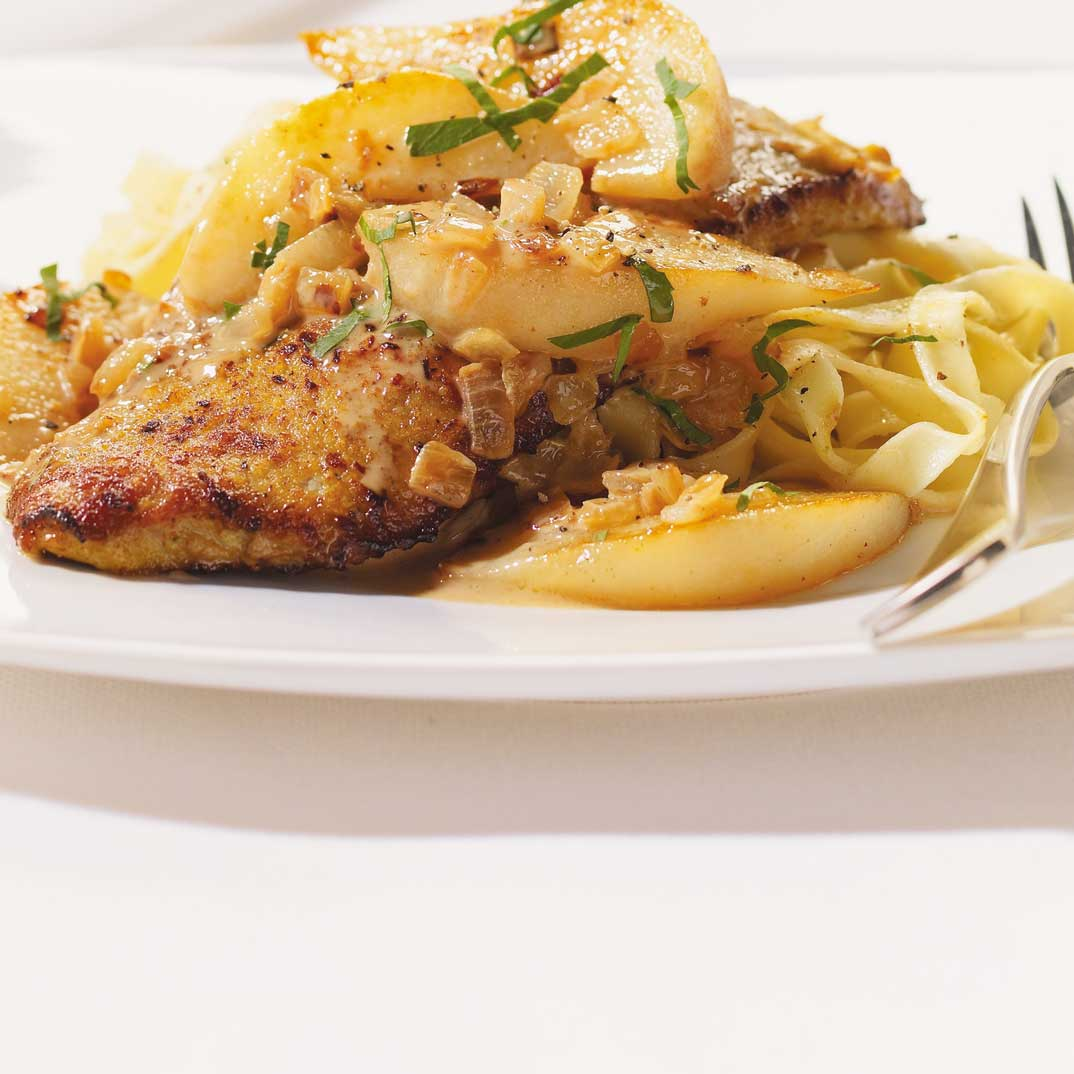 Curried Veal Scaloppini with Pears