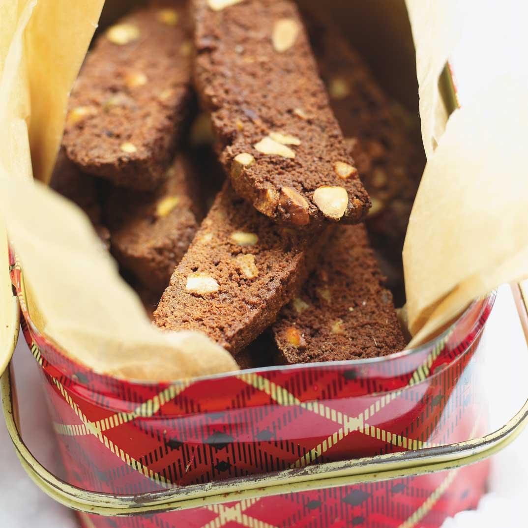 Biscottis au chocolat, à l'orange et aux pistaches