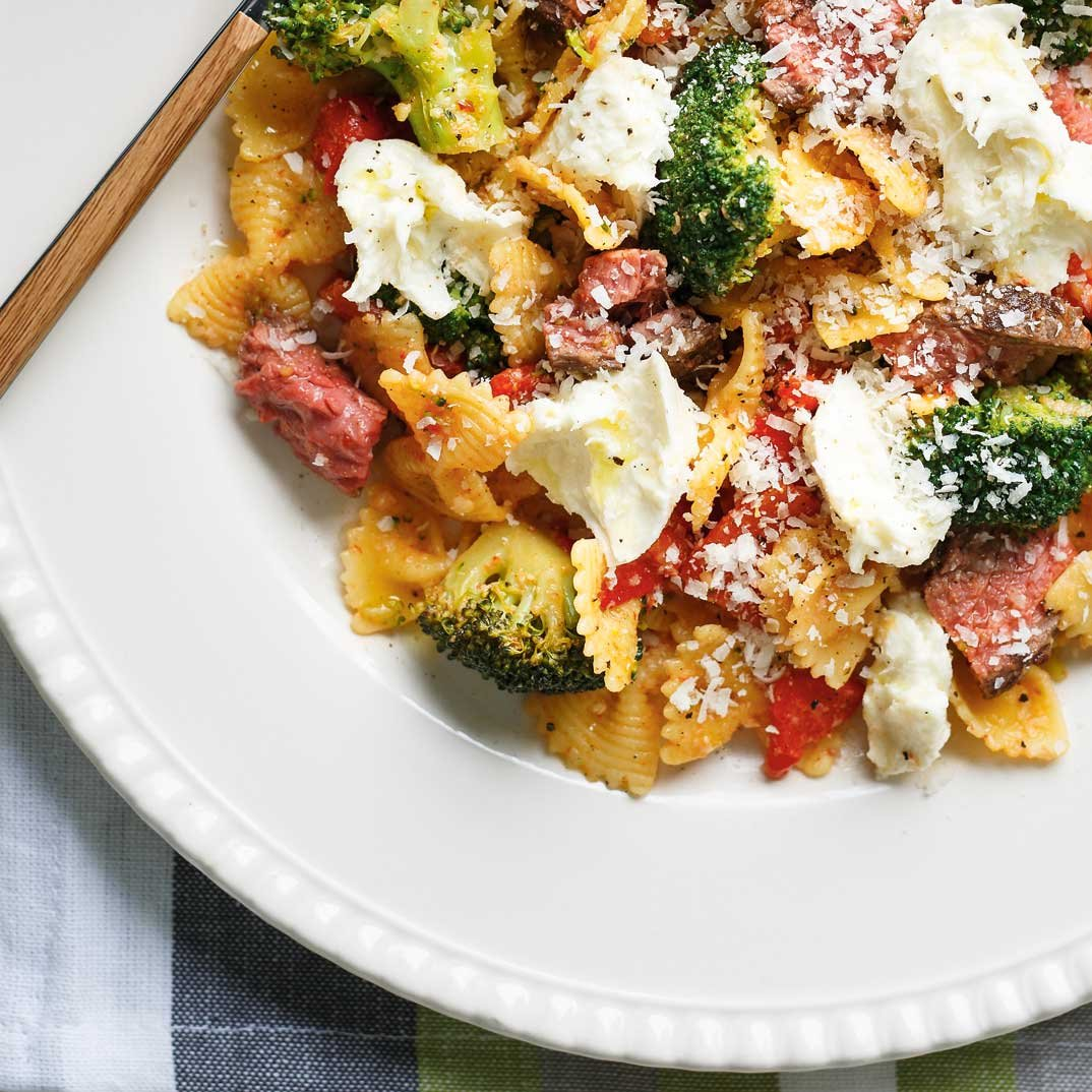 Beef Farfalle with Roasted Bell Peppers