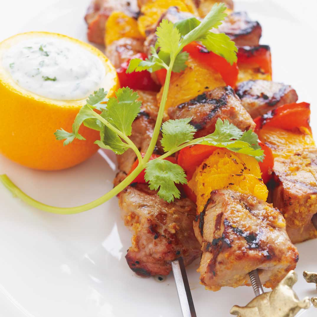 Pork and Orange Skewers with Cilantro Yogurt Sauce
