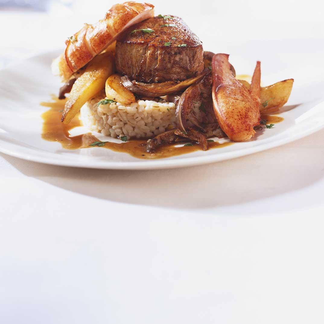 Veal Medallions, Lobster, Sautéed Mushrooms and Pears on Barley Pilaf