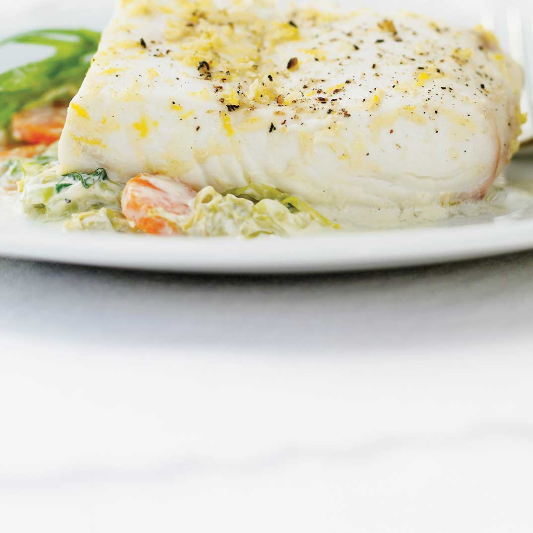 Steamed Halibut with Horseradish and Vodka