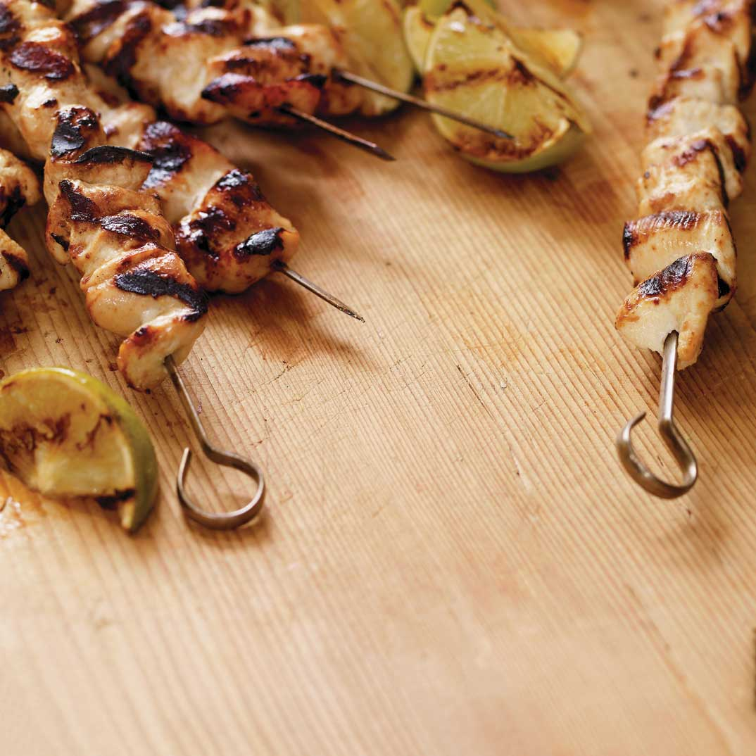 Grilled Chicken Skewers with Cilantro Pesto