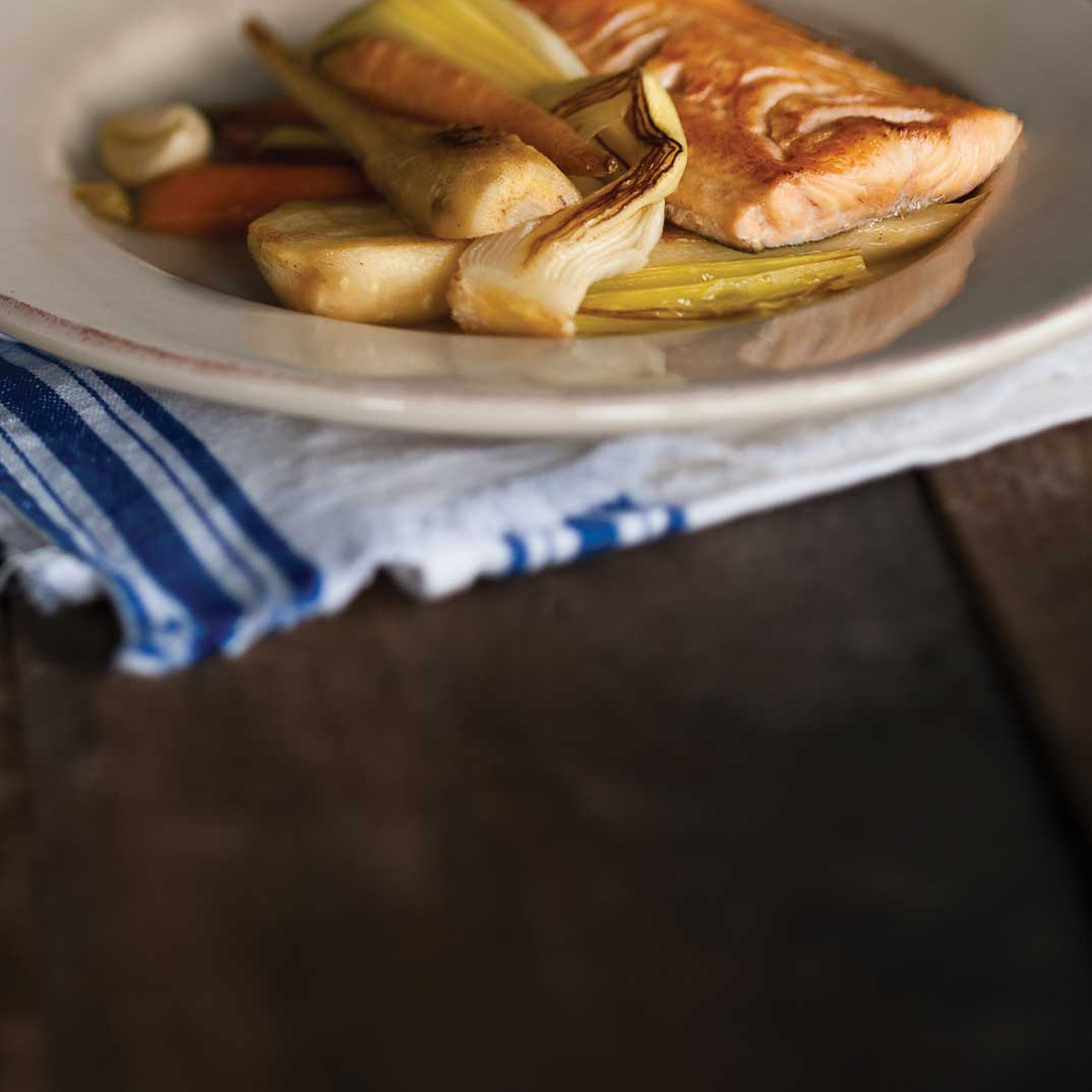 Artic Char with Leek and Basil Milk and Braised Vegetables